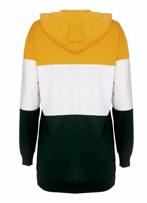 Fashion Women Hoodie Sweatshirts Number Color Block Long Sleeve Casual Loose Pullover Hooded Tops_3