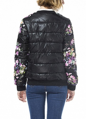 Winter Women Floral Print Quilted Long Sleeve Cotton Padded Jacket Coat_3