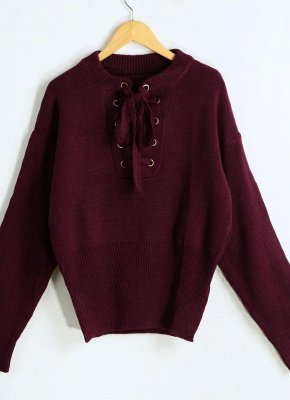 Lace-Up Knit Sweater V Neck Long Sleeves Ribbed Cuffs Hem Women's Pullover_1