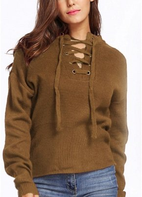 Lace-Up Knit Sweater V Neck Long Sleeves Ribbed Cuffs Hem Women's Pullover_2