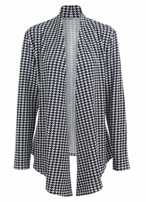 Women Houndstooth Plaid Cardigan Coat Long Sleeves Open Front Waist Strap Asymmetrical Casual Tops Outwear_3