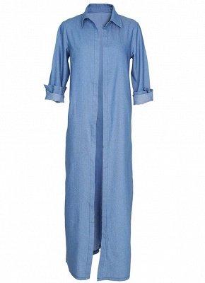 Women Denim Trench Coat Open Front Waterfall Long Sleeve Split Casual Outwear_5