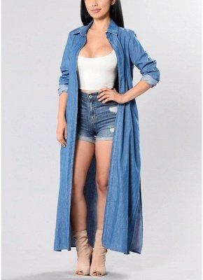 Women Denim Trench Coat Open Front Waterfall Long Sleeve Split Casual Outwear_1