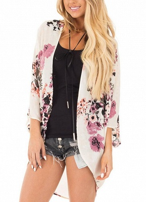Women Chiffon Kimono Beach Cover-Up Floral Print Casual Loose Boho Cardigan Outerwear