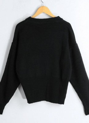 Lace-Up Knit Sweater V Neck Long Sleeves Ribbed Cuffs Hem Women's Pullover_8