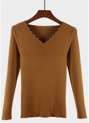 Fashion Women Basic Solid Knitted Pullover Sweater_1
