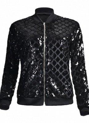 Women BlingBling Sequin Outwear Zipper Front Long Sleeve Bomber Jacket Basic Coat_4