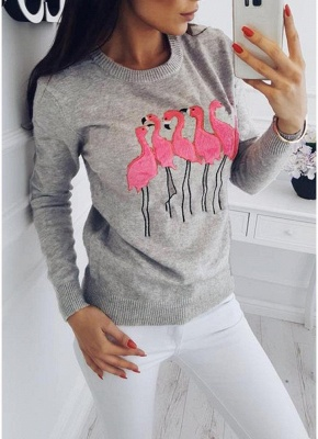 Fashion Women Embroidery Flamingo O Neck Long Sleeve Sweatshirt_4
