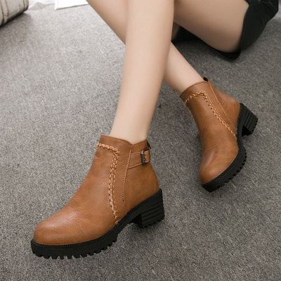 Daily Chunky Heel Zipper Round Toe Buckle Boots_5