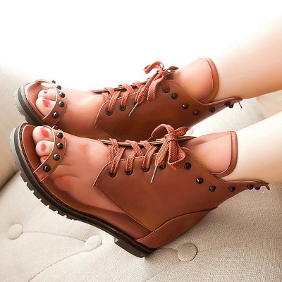 Rivet Mesh Peep Toe Lace-up Chunky Boots_13