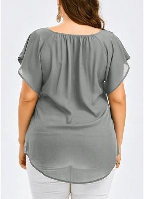 Women Plus Size Solid Blouse V Neck Crochet Lace Shirt Top_4