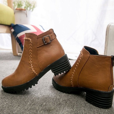 Daily Chunky Heel Zipper Round Toe Buckle Boots_8