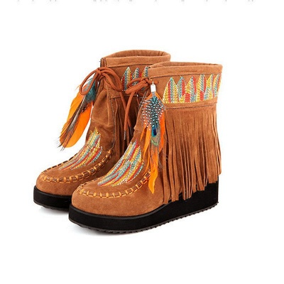 Tassel Wedge Heel Daily Round Toe Casual Boots_10