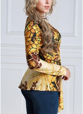 Women Contrast Print V-Neck Asymmetric Hem Blouse Top_4