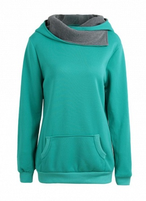 Autumn Winter  Casual Solid  Sweatshirt Pocket Long Sleeve Women's Hoodies_3