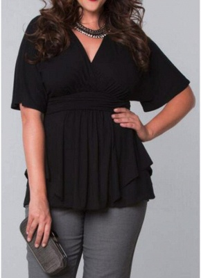 Plus Size Wrap Ruched Flare Draped Asymmetrical Hem Blouses_3