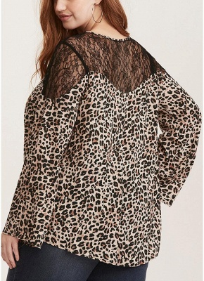 Women Plus Size Leopard Print Blouse Lace Splice O-Neck Flare Sleeve Pullover_3