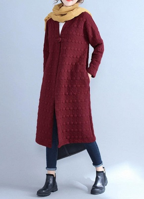 Winter Women V-Neck Long Coat Pockets Warm Jacket Cardigan Outerwear Overcoat_3
