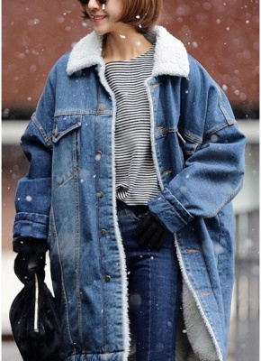 Women Winter Loose Denim Coat Fleece Thicken Jacket Outerwear_1
