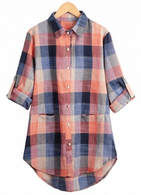 Plaid Rolled Sleeve Irregular Hem Button Plus Size Long Shirt_5