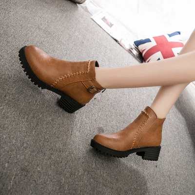 Daily Chunky Heel Zipper Round Toe Buckle Boots_9