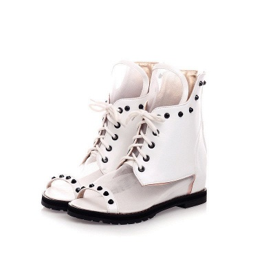 Rivet Mesh Peep Toe Lace-up Chunky Boots_12