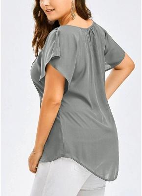 Women Plus Size Solid Blouse V Neck Crochet Lace Shirt Top_3