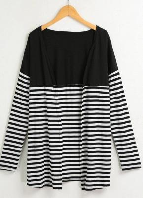Women Cardigan Striped Long Sleeve Thin Outerwear Knitwear_4