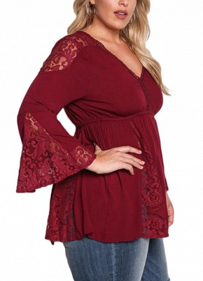 Plus Size Lace V Neck Long Bell Sleeves Tassel Tie Blouse_4