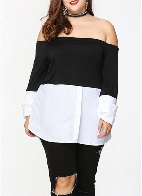 Sexy Women Plus Size Blouse Off Shoulder Contrast Color Long Sleeve Asymmetric Loose Shirt Tops Black_1