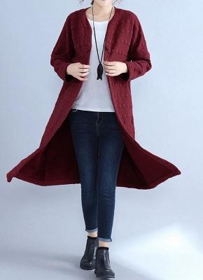 Winter Women V-Neck Long Coat Pockets Warm Jacket Cardigan Outerwear Overcoat_4