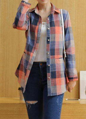 Plaid Rolled Sleeve Irregular Hem Button Plus Size Long Shirt_1