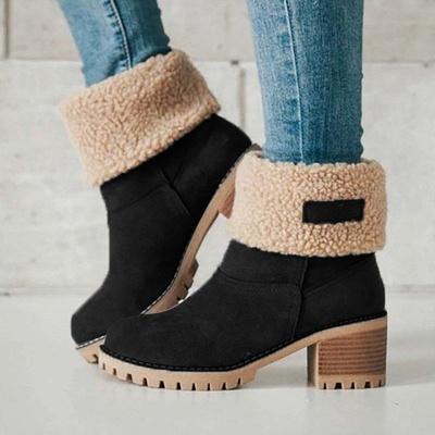 Nubuck Chunky Heel Slip-On Round Toe Boots_22