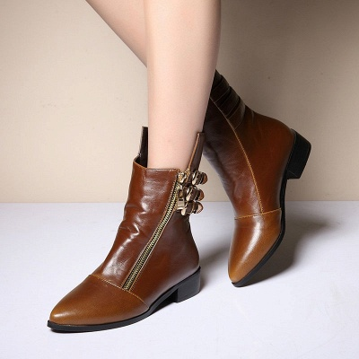 PU Chunky Heel Zipper Pointed Toe Casual Boots_4
