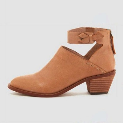 Women Chunky Heel Daily Zipper Round Toe Boots_7