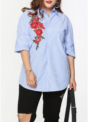 Plus Size Striped Floral Embroidery Long Sleeve Casual Loose Blouse_1