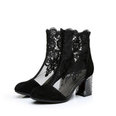 Black Lace Chunky Sexy Boots_5