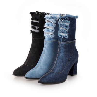 Denim Daily Zipper Chunky Heel Pointed Toe Boots_7