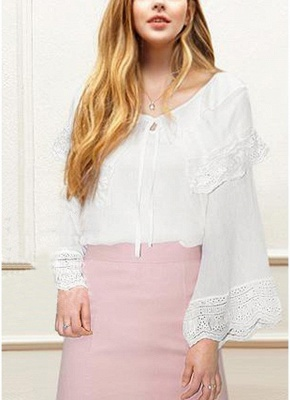 Women Plus Size Top Scalloped Lace Ruffles Tied Front Flared Bell Sleeves Blouse_1
