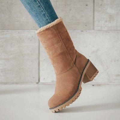 Nubuck Chunky Heel Slip-On Round Toe Boots_1