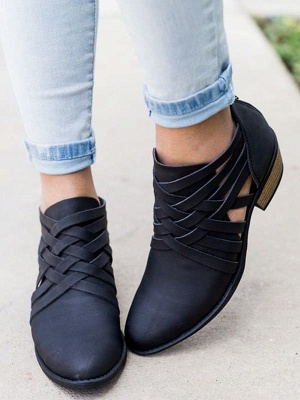 Low Heel Hollow-out PU Casual Zipper Boots_10