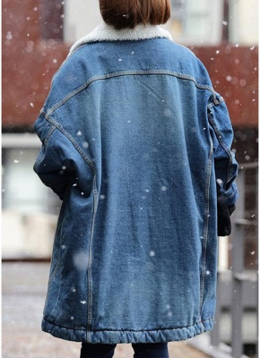 Women Winter Loose Denim Coat Fleece Thicken Jacket Outerwear_3