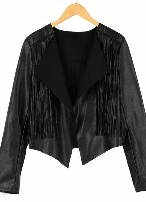 Women PU Leather Long Sleeve Tassel Fringe Jacket_5
