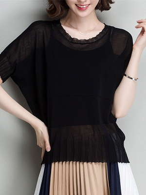 Shift Daytime Casual Ice Yarn Knitted Batwing Sweaters_4