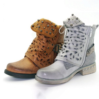 Hollow-out Daily Chunky Heel Round Toe Boots_10