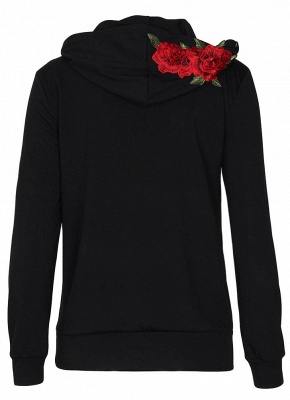 Fashion Sweatshirt Floral Embroidery Casual Women's Hoodies_3