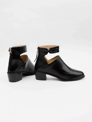 Women Chunky Heel Daily Zipper Round Toe Boots_22