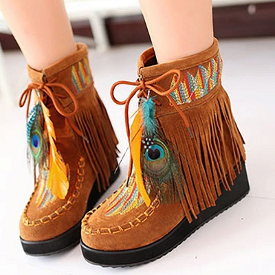 Tassel Wedge Heel Daily Round Toe Casual Boots_4