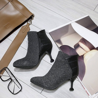 Zipper Date Cone Heel Pointed Toe Sequin   Boots_7