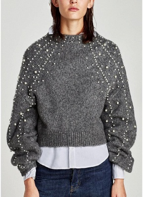Women  Faux Pearls Beadings Round Neck  Long Sleeve Ribbed  Sweater_1